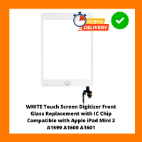 WHITE Touch Screen Digitizer Front Glass Replacement with IC Chip Compatible with Apple iPad Mini 3 A1599 A1600 A1601